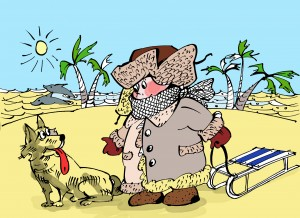 Мальчик с санками на пляже