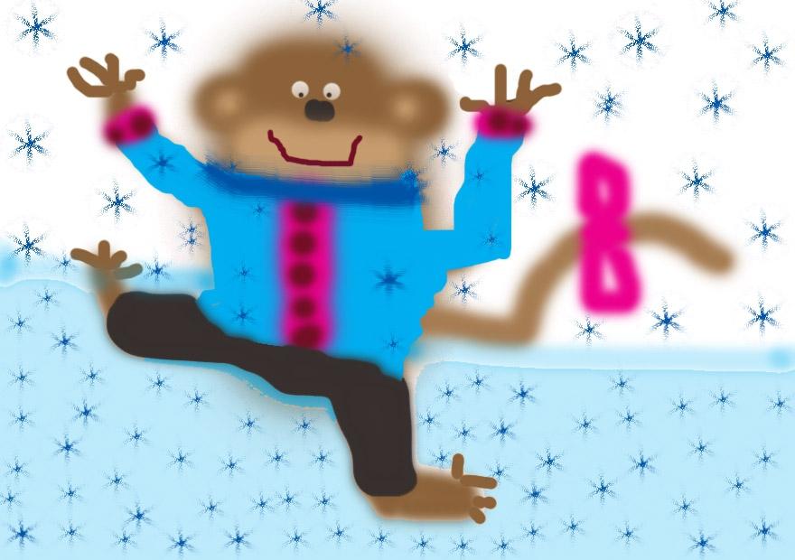 обезьяна под снегом